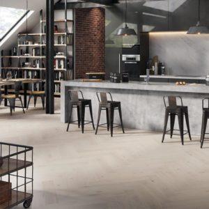 Oak Cappuccino herringbone floor room setting